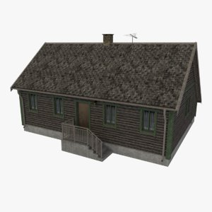 log cabin cottage 3d obj