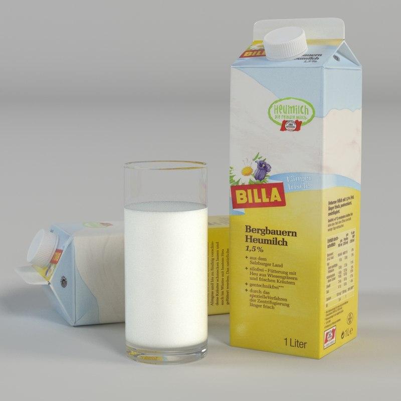 milk carton glass 3d model