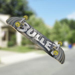3d model rigged skateboard