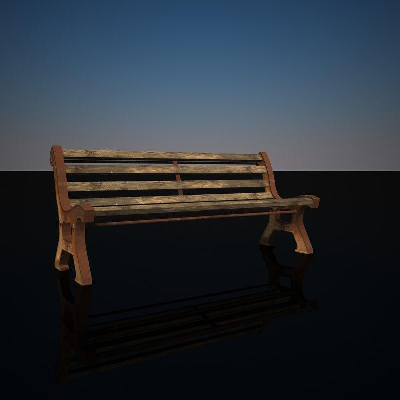 3d model rusty bench