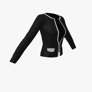 womens office jacket black 3d model