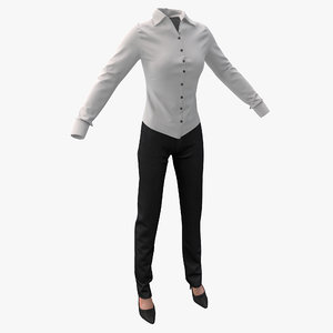 womens shirt slacks 3d model
