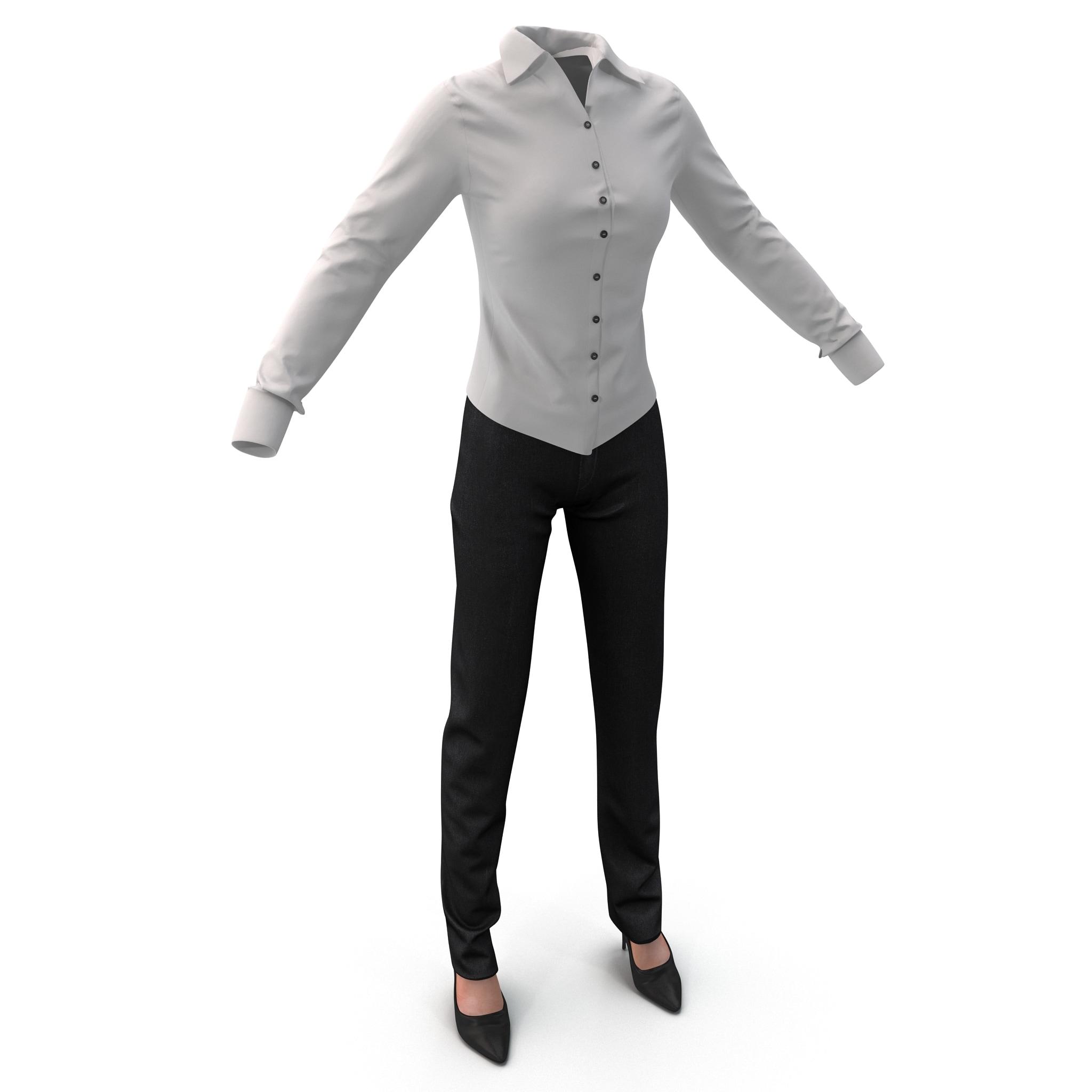 womens shirt slacks 3d model