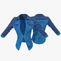 womans jeans jacket 3d model