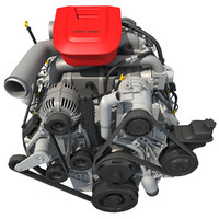 car engine modeled 3d model