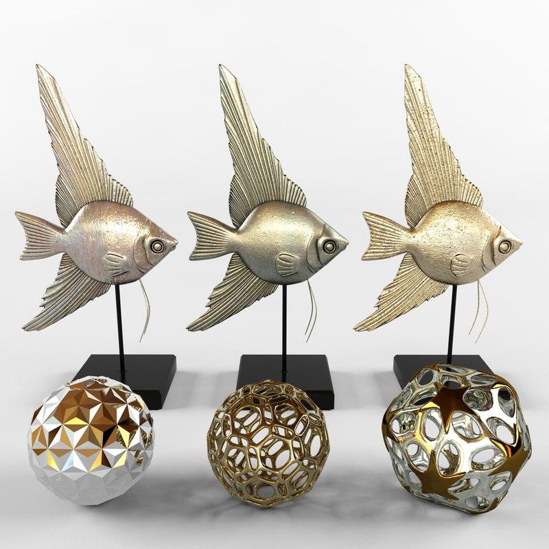 bronze fish decor 3d model