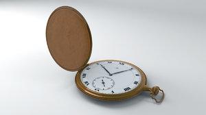 3d model gold omega pocket watch