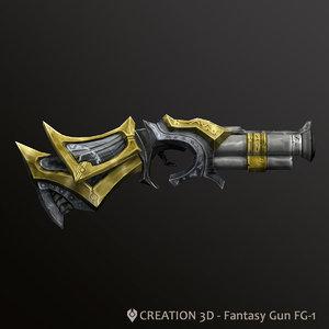 3ds max - fantasy steampunk gun games