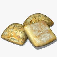 3d model sunflower seeded bread roll