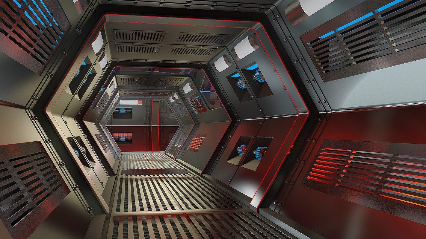 c4d spaceship corridor