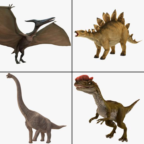 3d model dinosaurs rigged 2
