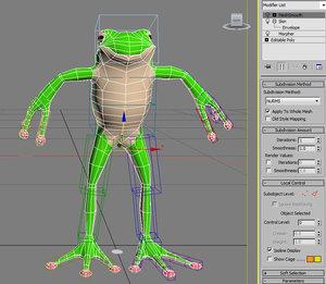 cartoon frog rigged character 3d max