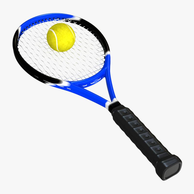 3d tennis racket ball