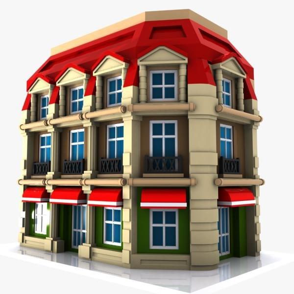 3dsmax cartoon corner building