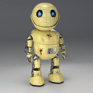 friendly robot rig little 3d model