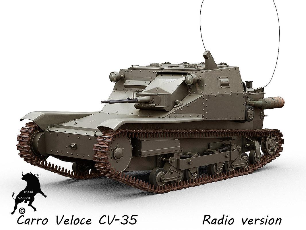 carro veloce cv-35 tank 3d model