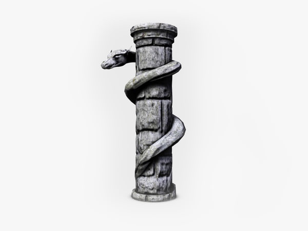 3d stone column serpent