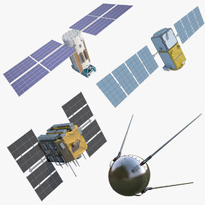 satellites gps galileo 3d model
