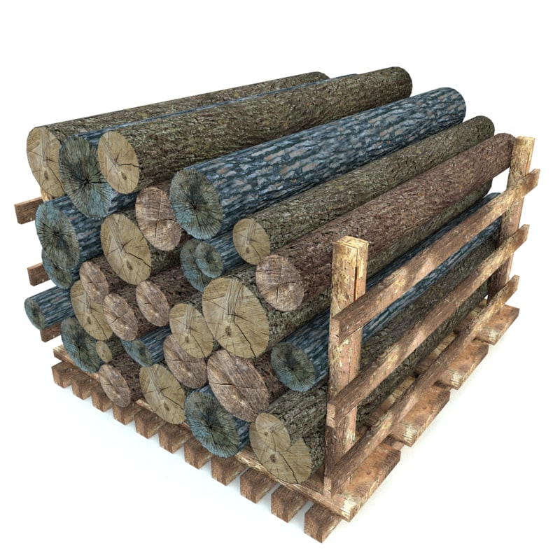 wood log 3d obj