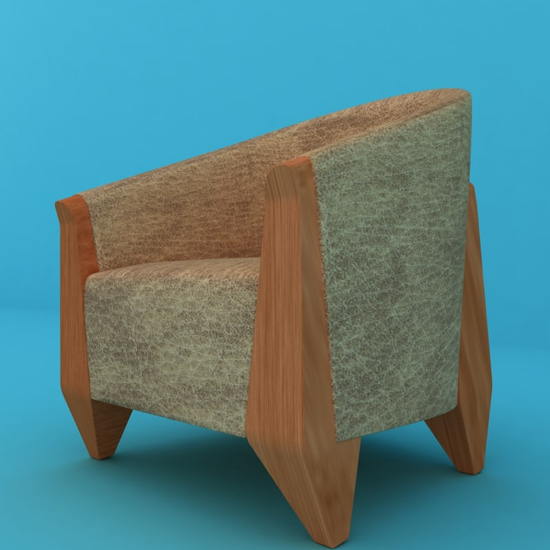 3ds max ready cream leather chair