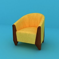 ready yellow leather chair 3d max