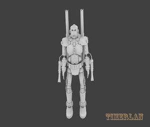 3d steampunk robot gun