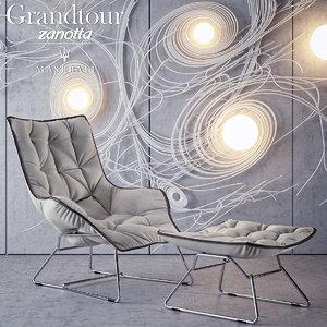 3d grandtour chair pouf zanotta model