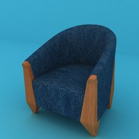 3d model ready blue leather chair