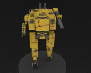 robot gun mechanical 3d 3ds