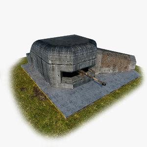 3dsmax german fortification gun