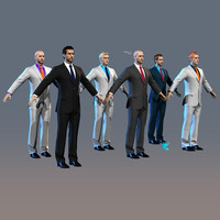 Men in Suits Alex 12 head skins 7 eye colors Real-time