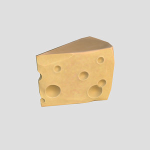 3d model low-poly cartoon cheese