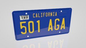 69 california license plate 3d c4d