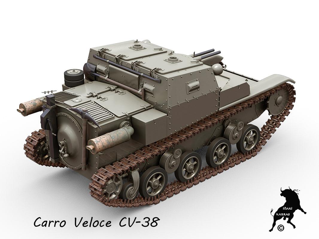 3d model carro veloce cv-38 tank