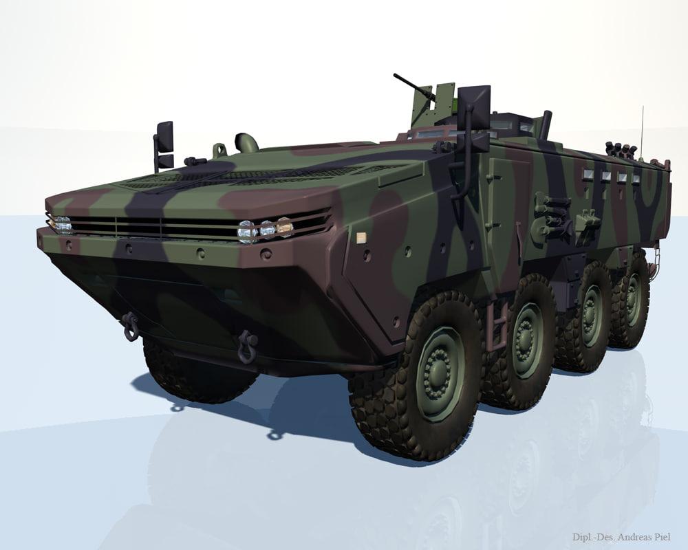 arma 8x8 apc vehicle 3d model