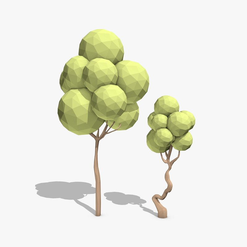 cartoon trees toon 3d model