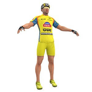 3d model racing bicyclist man
