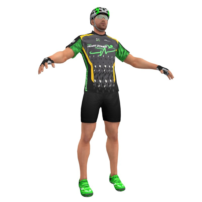 3d racing bicyclist man model