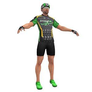 3d racing bicyclist man model