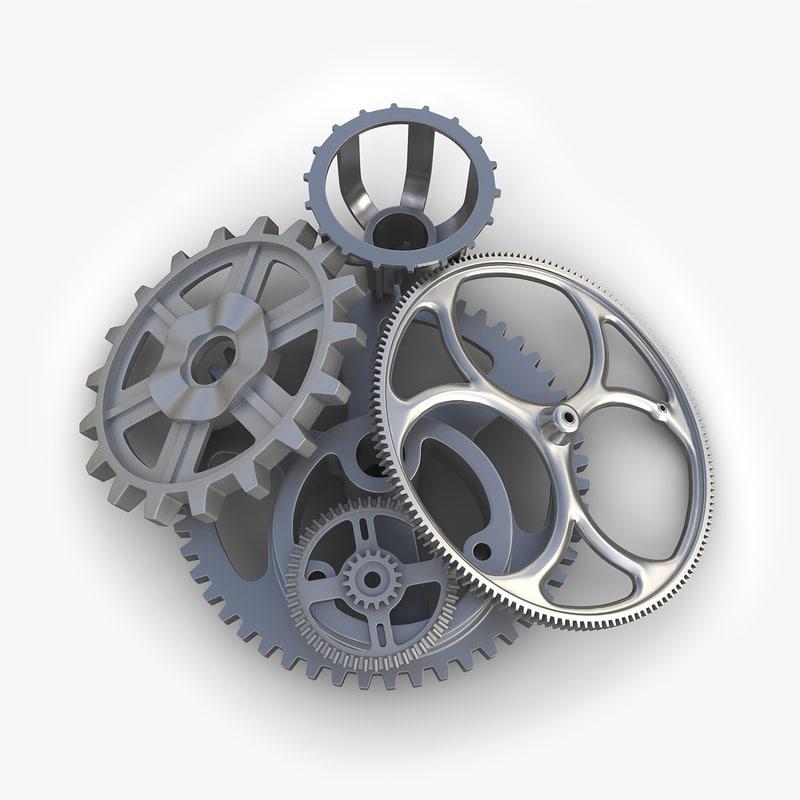 3dsmax gears set 06 industrial