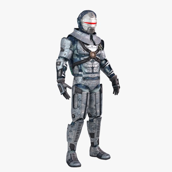 futuristic male warrior 3d max