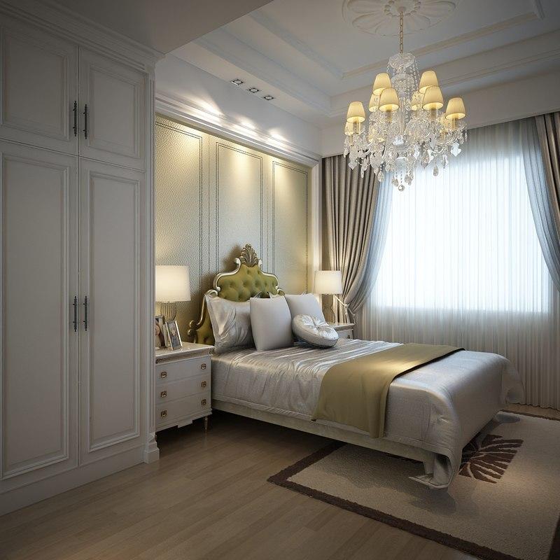 3d bedroom room bed model