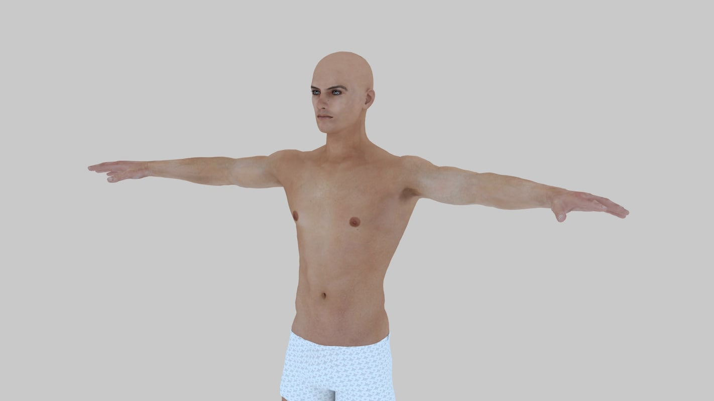 realistic male body character 3d model