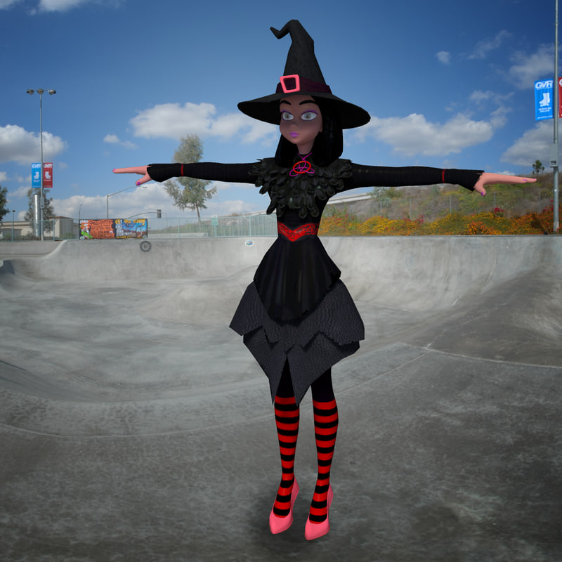 witch rigged 3d obj