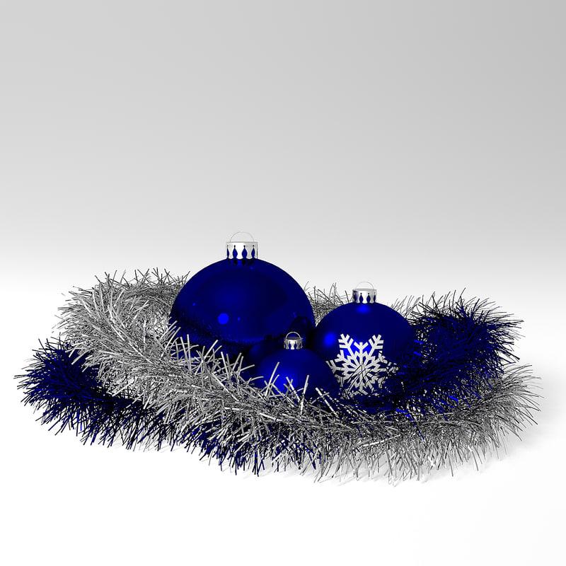 3ds christmas balls tinsel