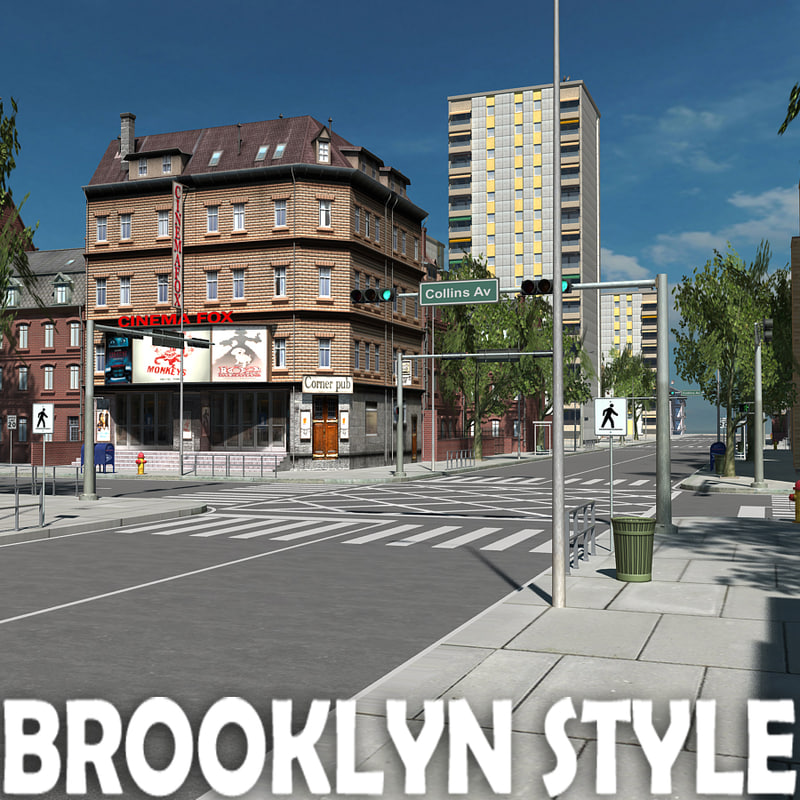 3d model city building brooklyn style