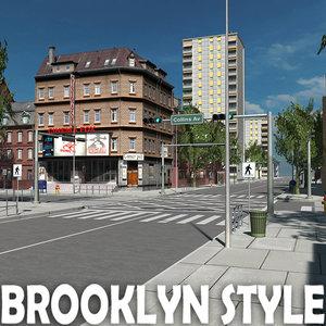 3d model city building brooklyn style