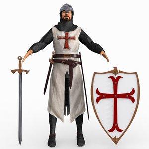 3d model templar knight helmet