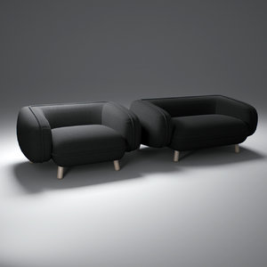 black-versus-snoopy-armchair-and-sofa 3d model