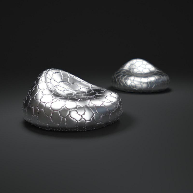 3d steel-bean-bag-chair model